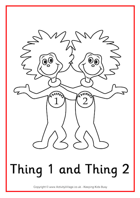 thing 1 and thing 2 colouring page