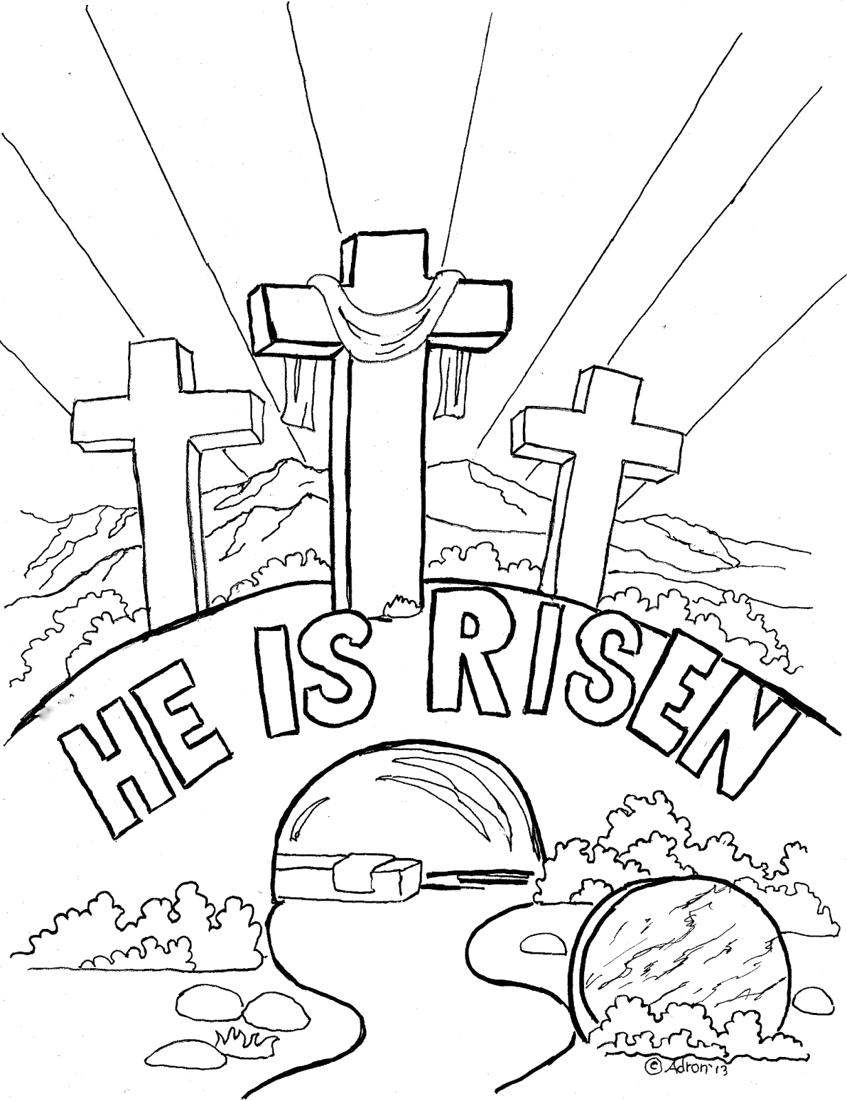 easter coloring page for kids he is