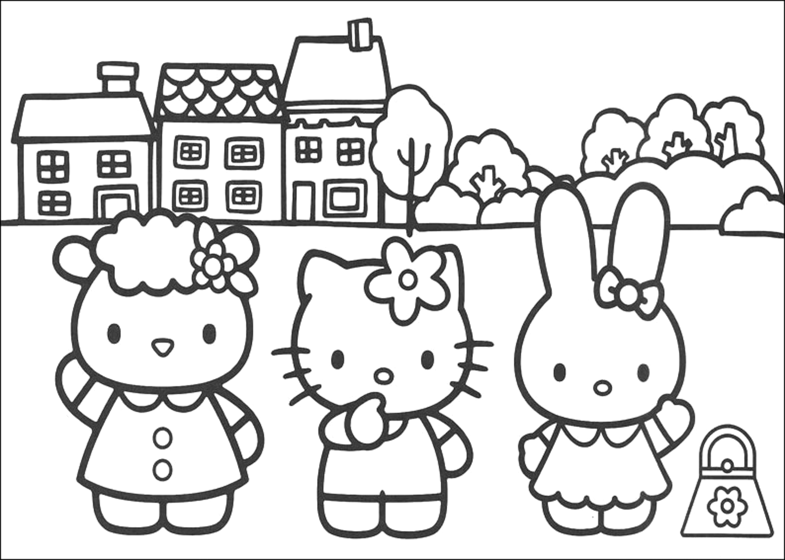 hello kitty and friends pictures to color