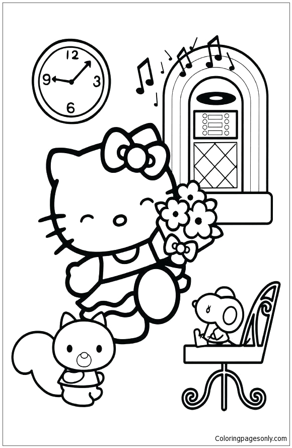 Free Coloring Pages Hello Kitty and Friends Hello Kitty with Her Friends 2 Coloring Page Free