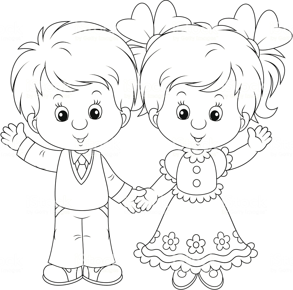 little boy and girl coloring pages