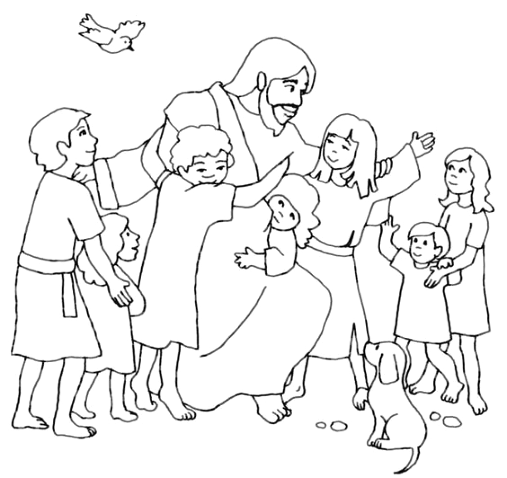 jesus with children coloring page
