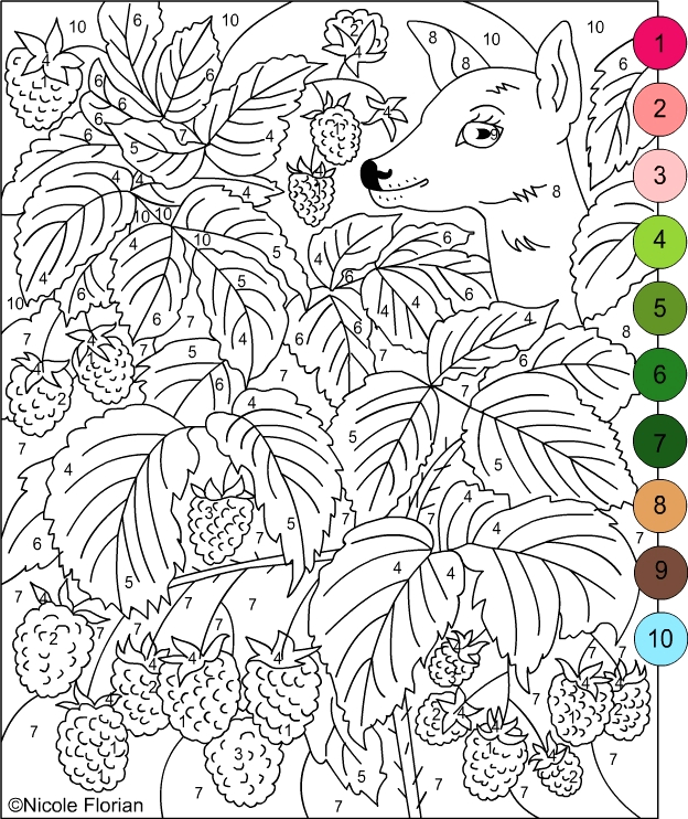 color by numbers strawberries coloring