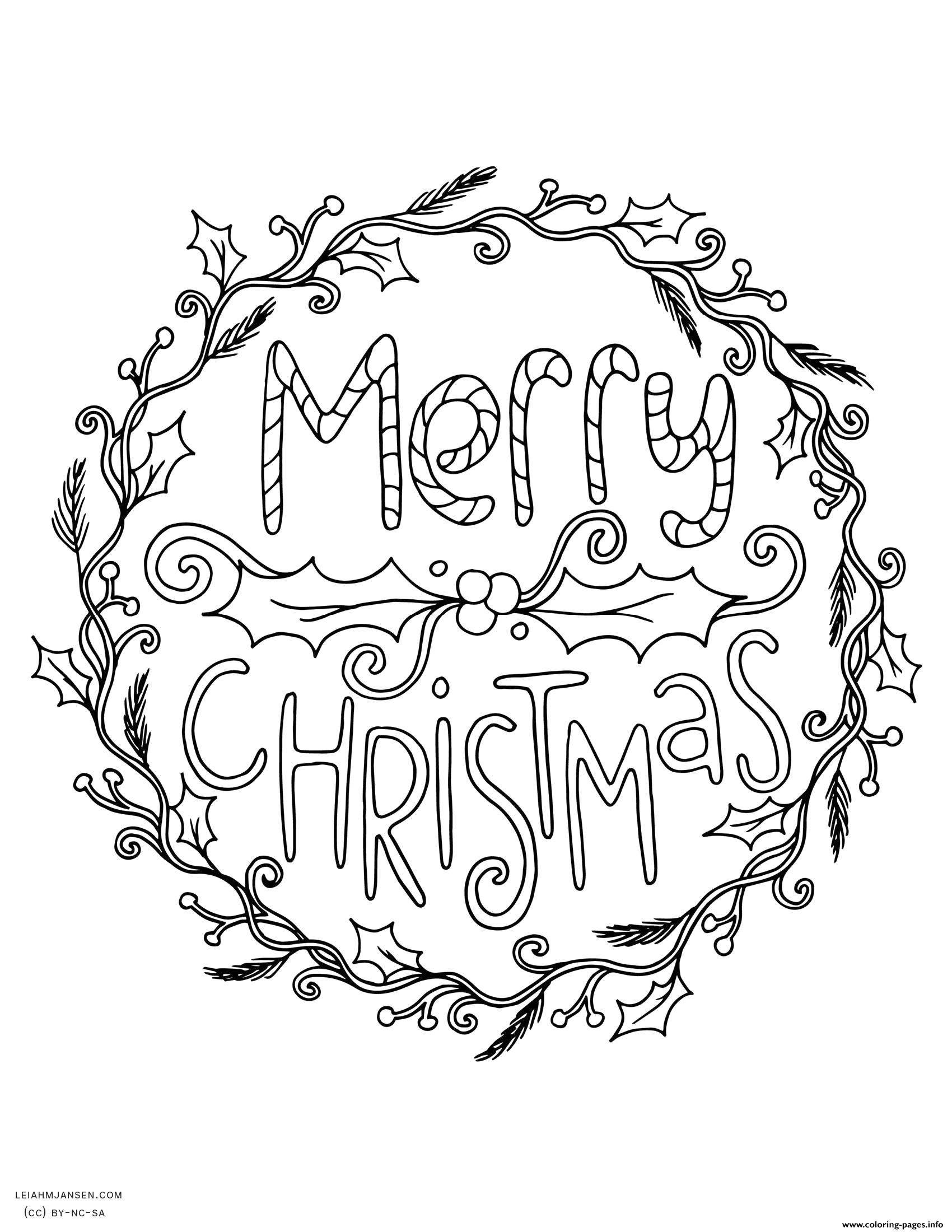 merry christmas wreath adult printable coloring pages book