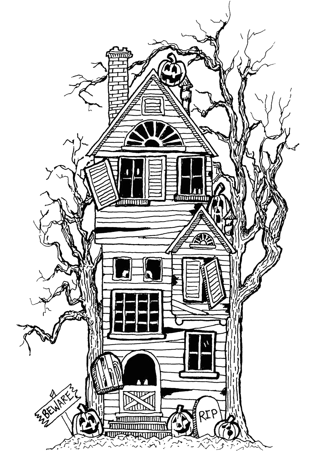 halloween adult coloring pages image=events halloween coloring adult halloween big haunted house 1