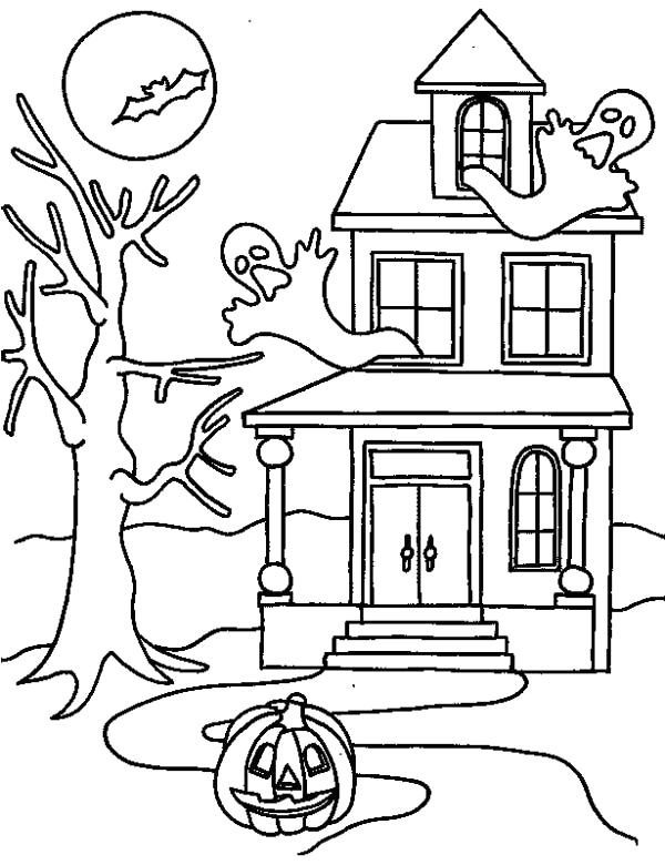 haunted house on halloween day coloring page
