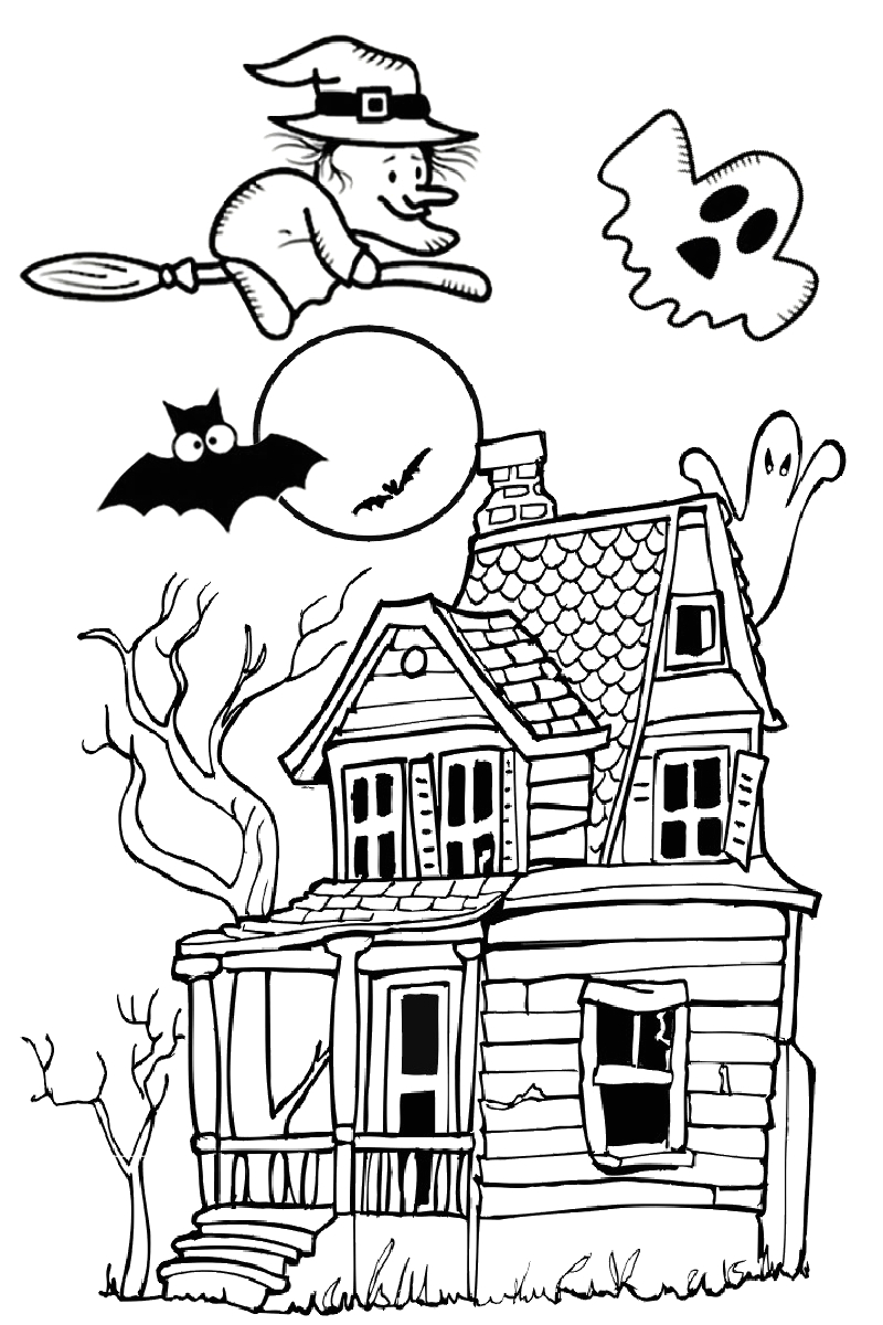 haunted house spooky pages to print and color for halloween