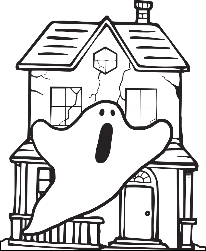 haunted house with two ghosts halloween coloring page a4296