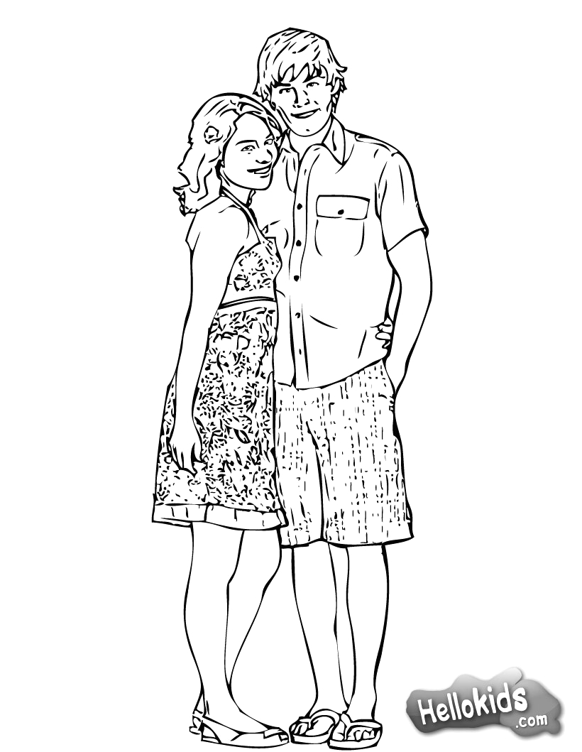 hsm gabriella and troy coloring page