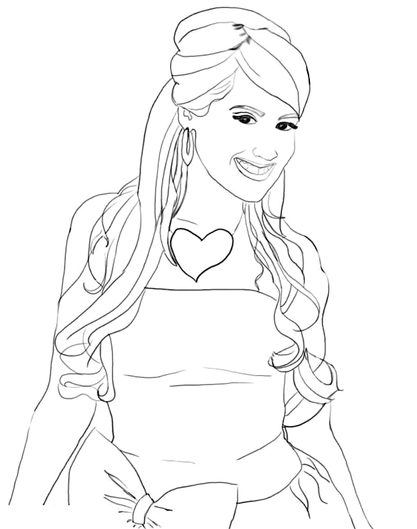 stunning ashley tisdale in high school musical coloring page