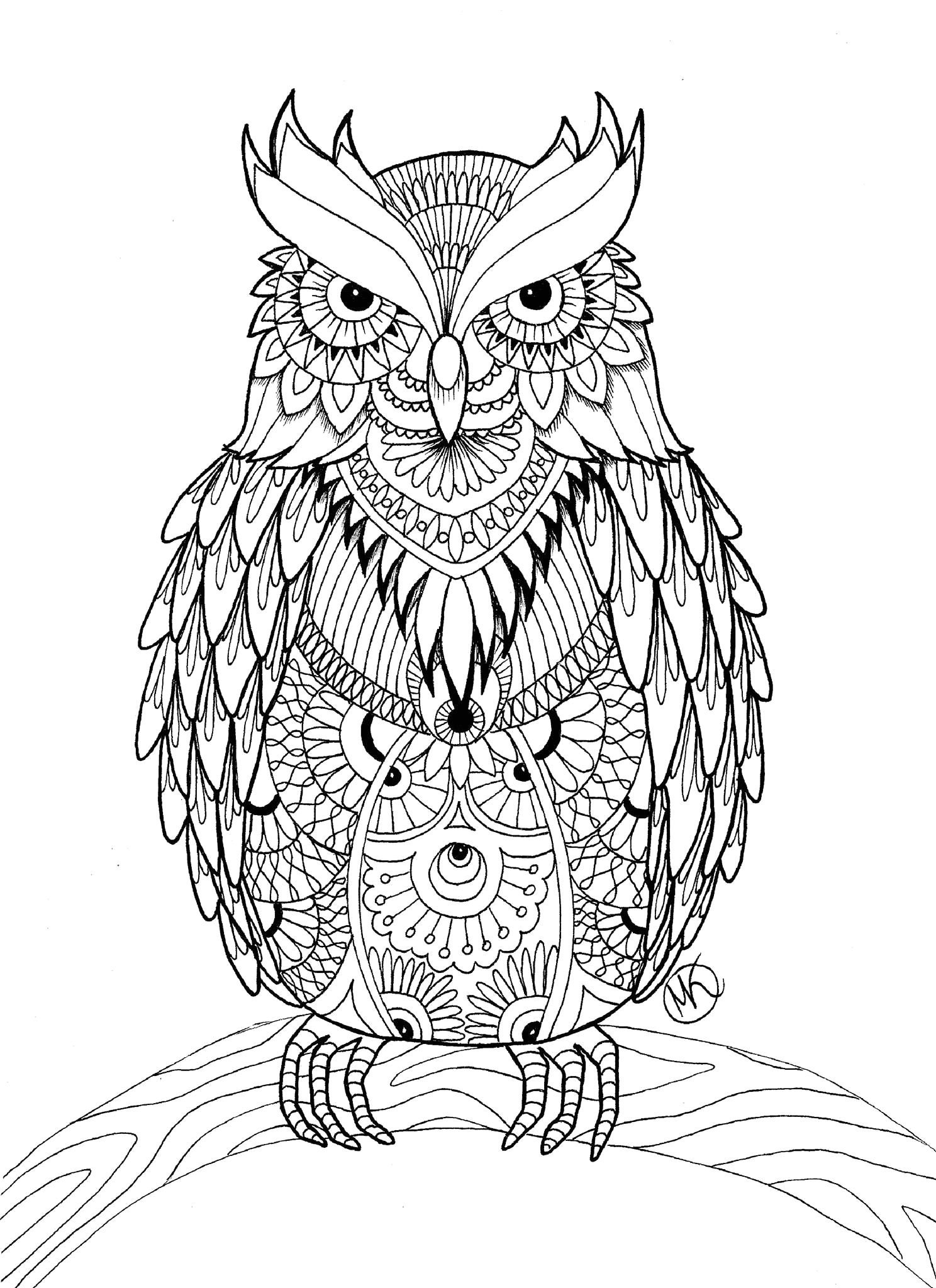 Free Printable Owl Coloring Pages for Adults Owl Coloring Pages for Adults Free Detailed Owl Coloring