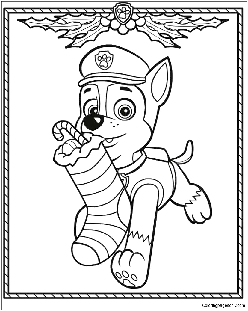 Free Printable Paw Patrol Christmas Coloring Pages Paw Patrol Christmas Coloring Page Free Coloring Pages