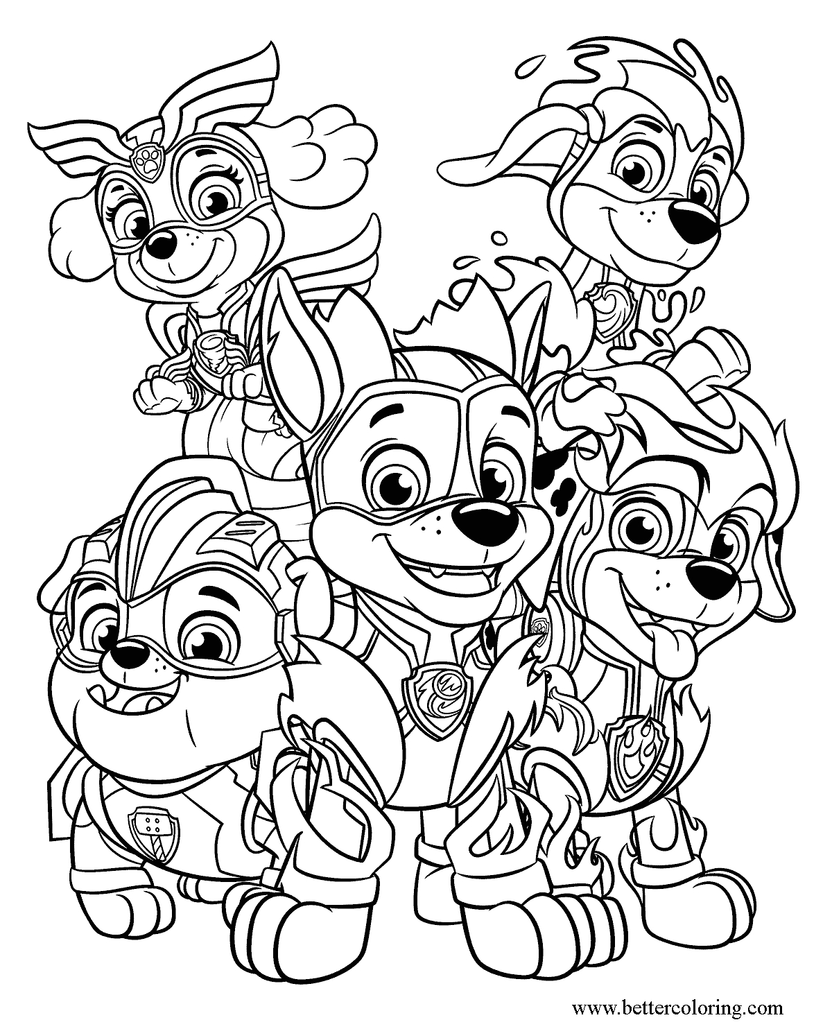 Free Printable Paw Patrol Mighty Pups Coloring Pages Free Download Mighty Pups Coloring Pages