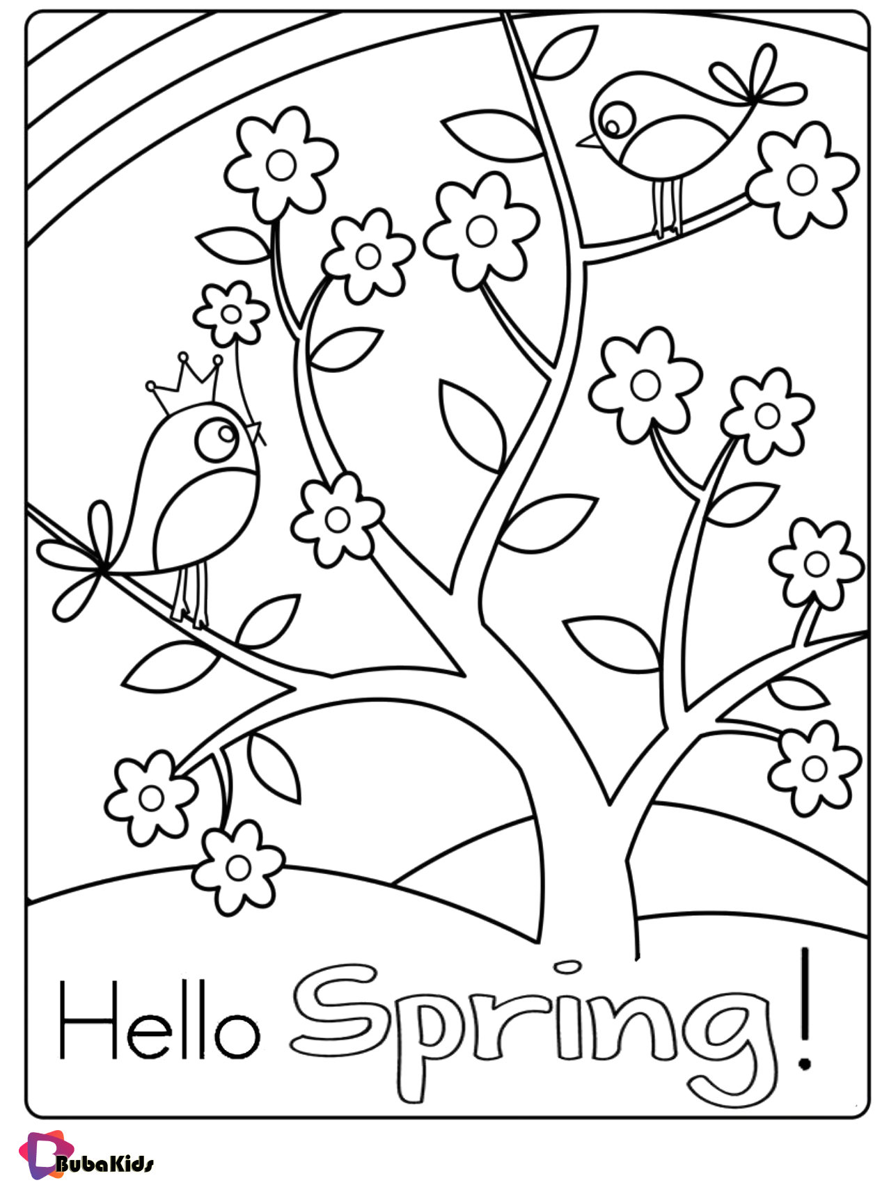 Free Printable Spring Coloring Pages for toddlers Free Hello Spring Coloring Page for Kids