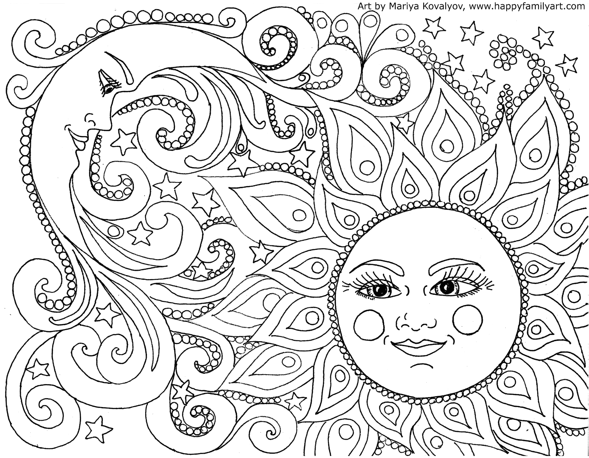 Free Printable Sun and Moon Coloring Pages Happy Family Art original and Fun Coloring Pages