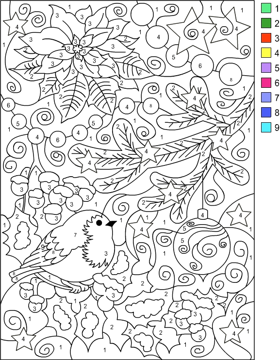 dolor by number winter coloring page