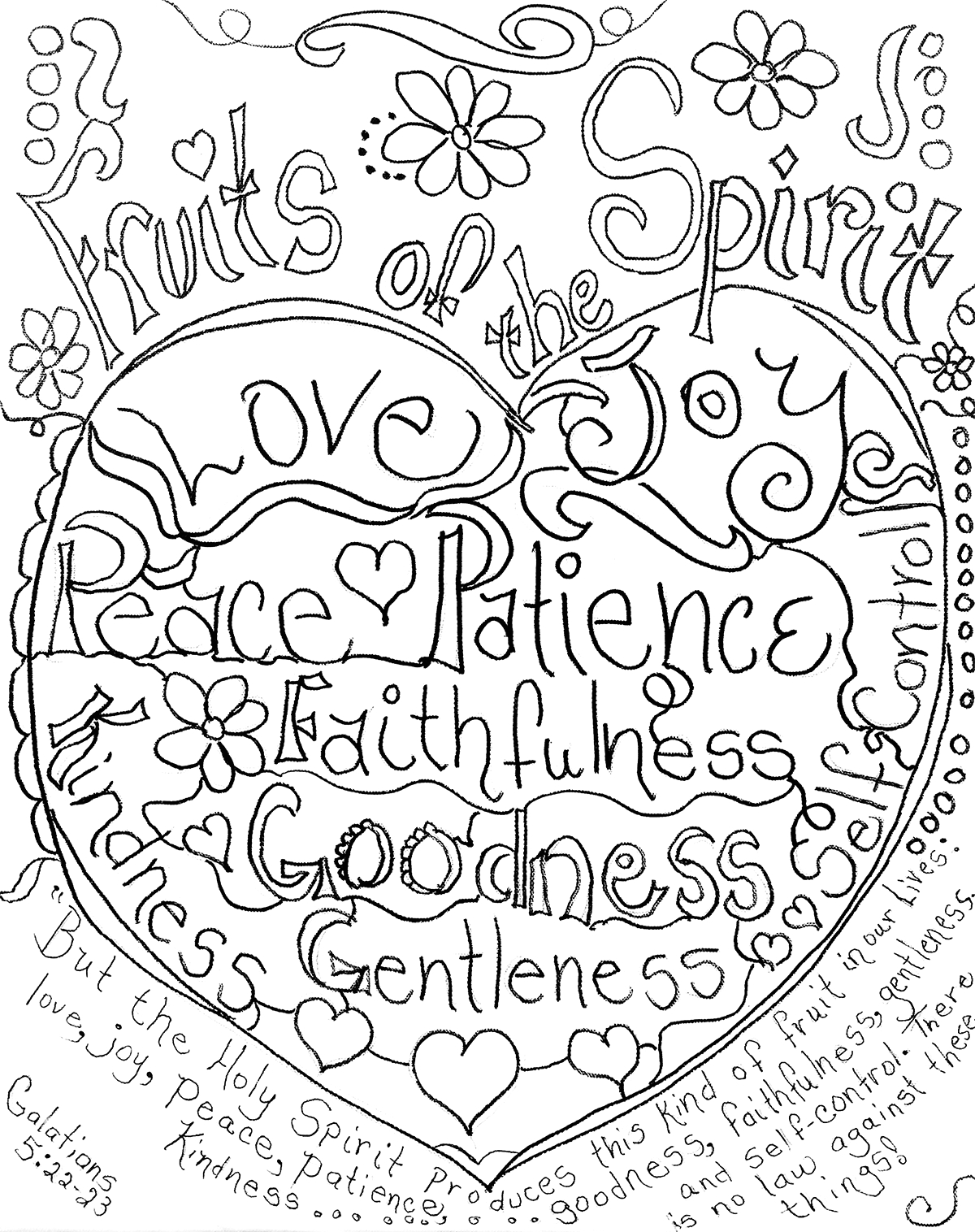 Fruit Of the Spirit Coloring Page Free Printable Fruits Of the Spirit Coloring Page by Carolyn Altman