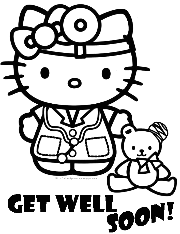 hospital well soon coloring page of
