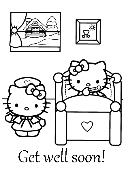 Hello Kitty Get Well soon Coloring Pages Hello Kitty Coloring Pages