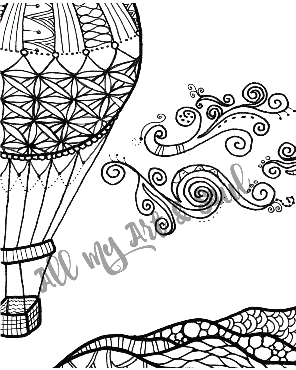 adult coloring page hot air balloon
