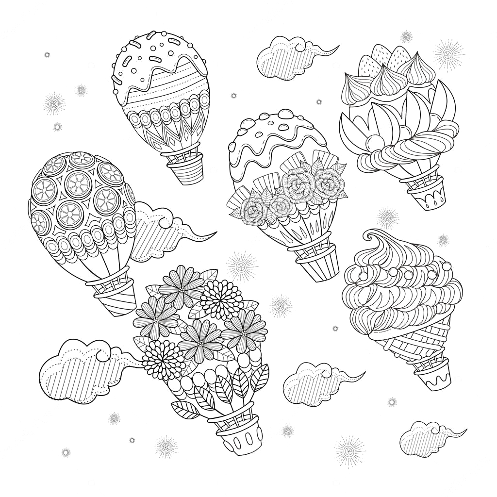 stock illustration hot air balloon adult coloring