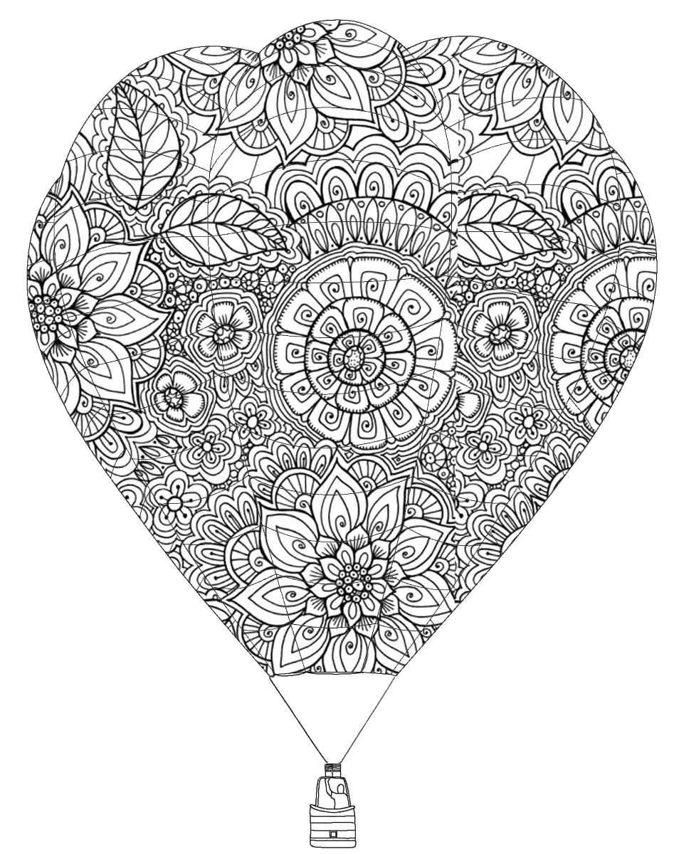 hot air balloon coloring page for adults
