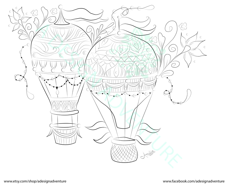 hot air balloons adult coloring page