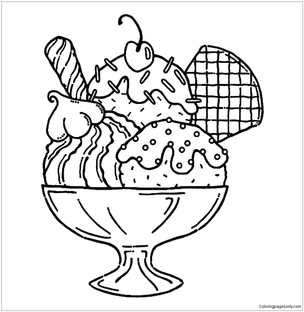 Ice Cream Sundae Coloring Pages to Print Ice Cream Sundae Coloring Page Free Coloring Pages Line
