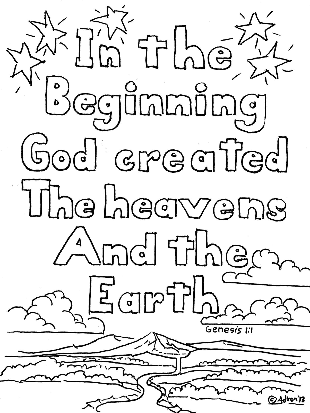 In the Beginning God Created Coloring Pages In the Beginning God Created Coloring Pages Coloring Home
