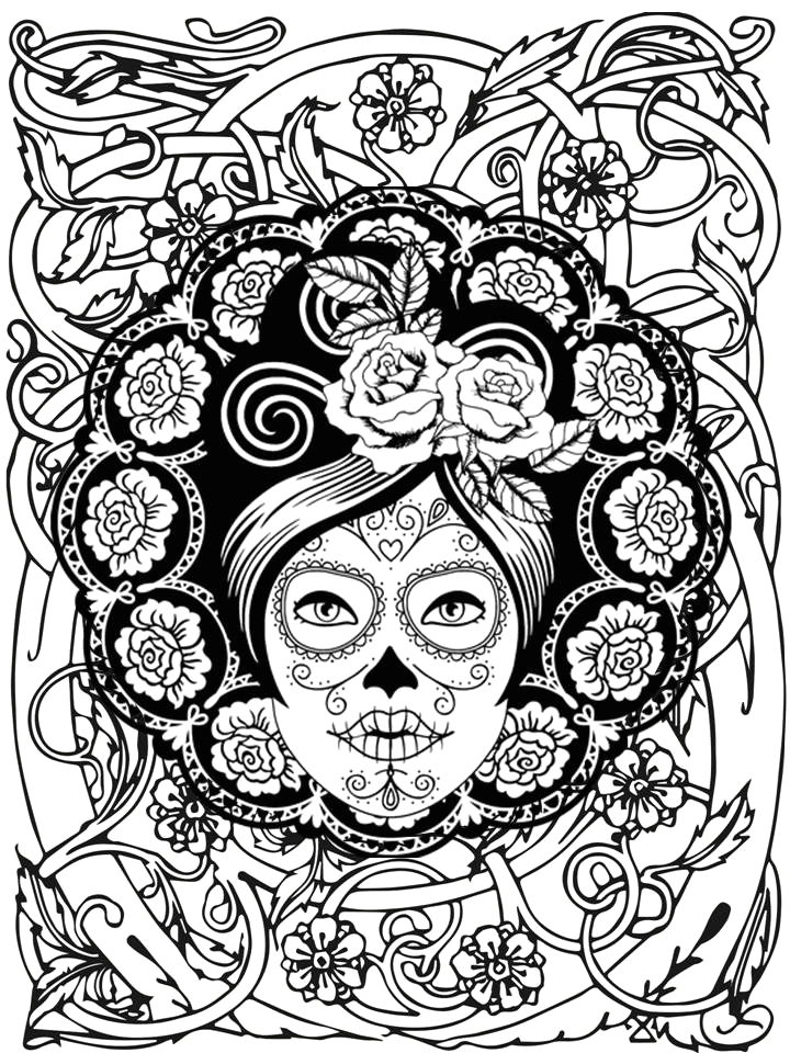 skull mandala coloring pages day of