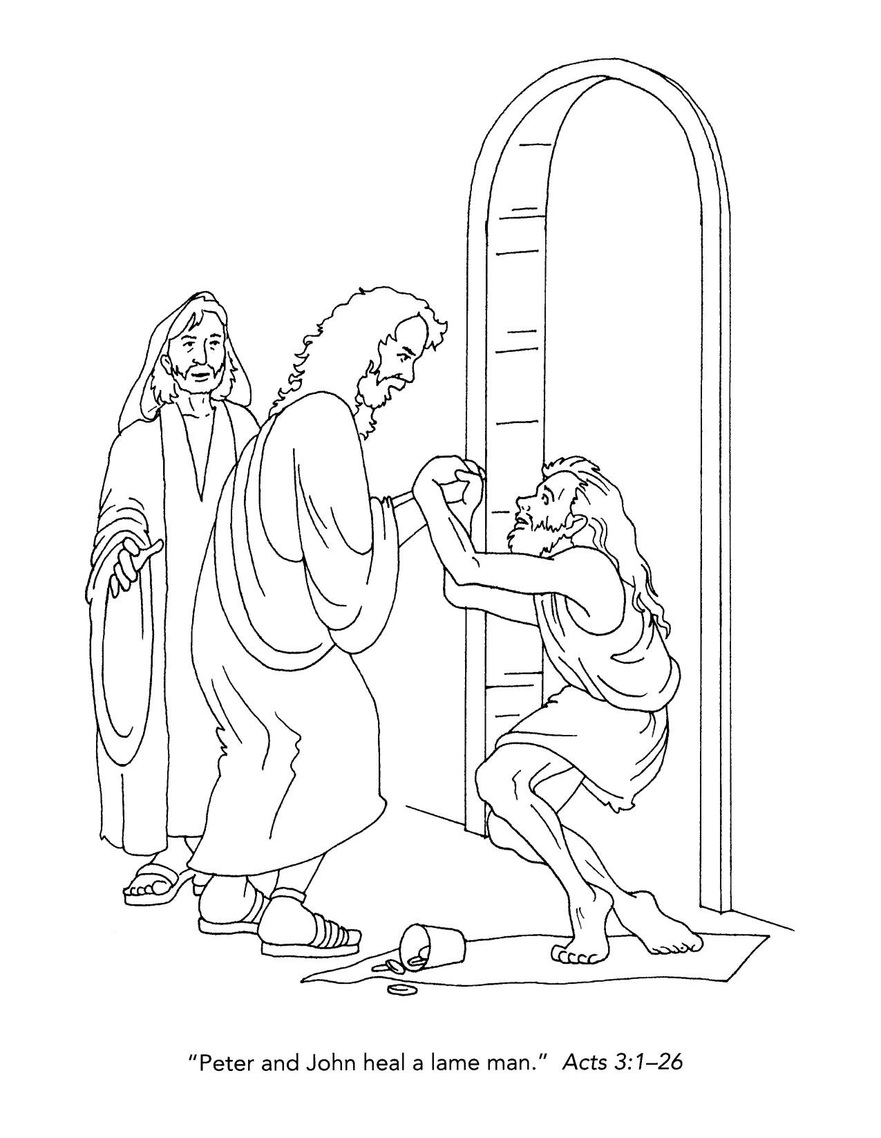 Peter and John Heal the Lame Man Coloring Page Coloring Pages Peter and John Heal A Lame Man