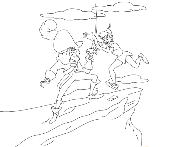 peter pan duel with captain hook coloring page