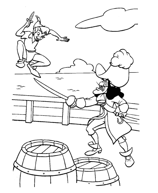 peter pan fight with captain hook coloring page