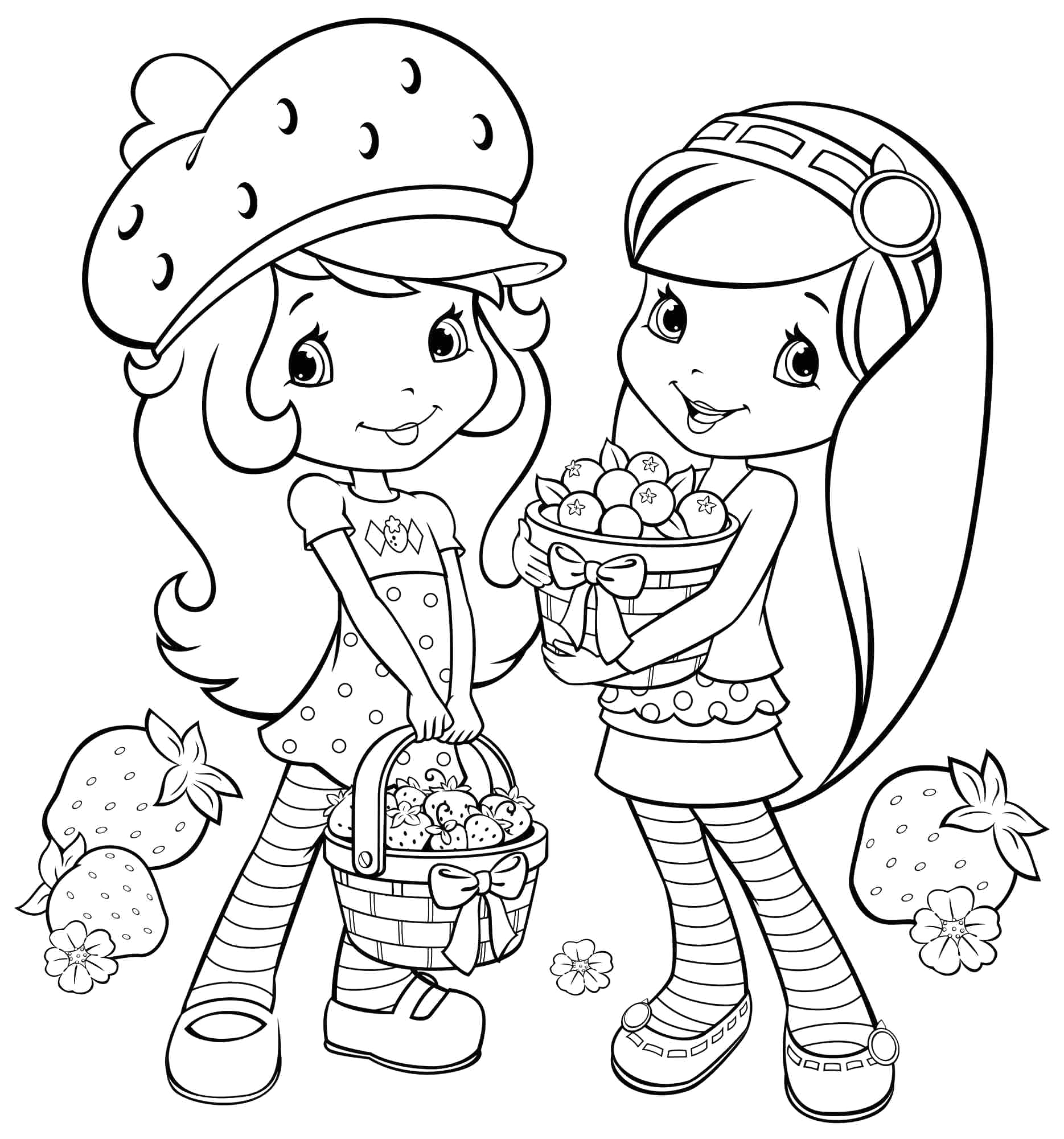 Strawberry Shortcake and Her Friends Coloring Pages Strawberry Shortcake Drawing at Getdrawings