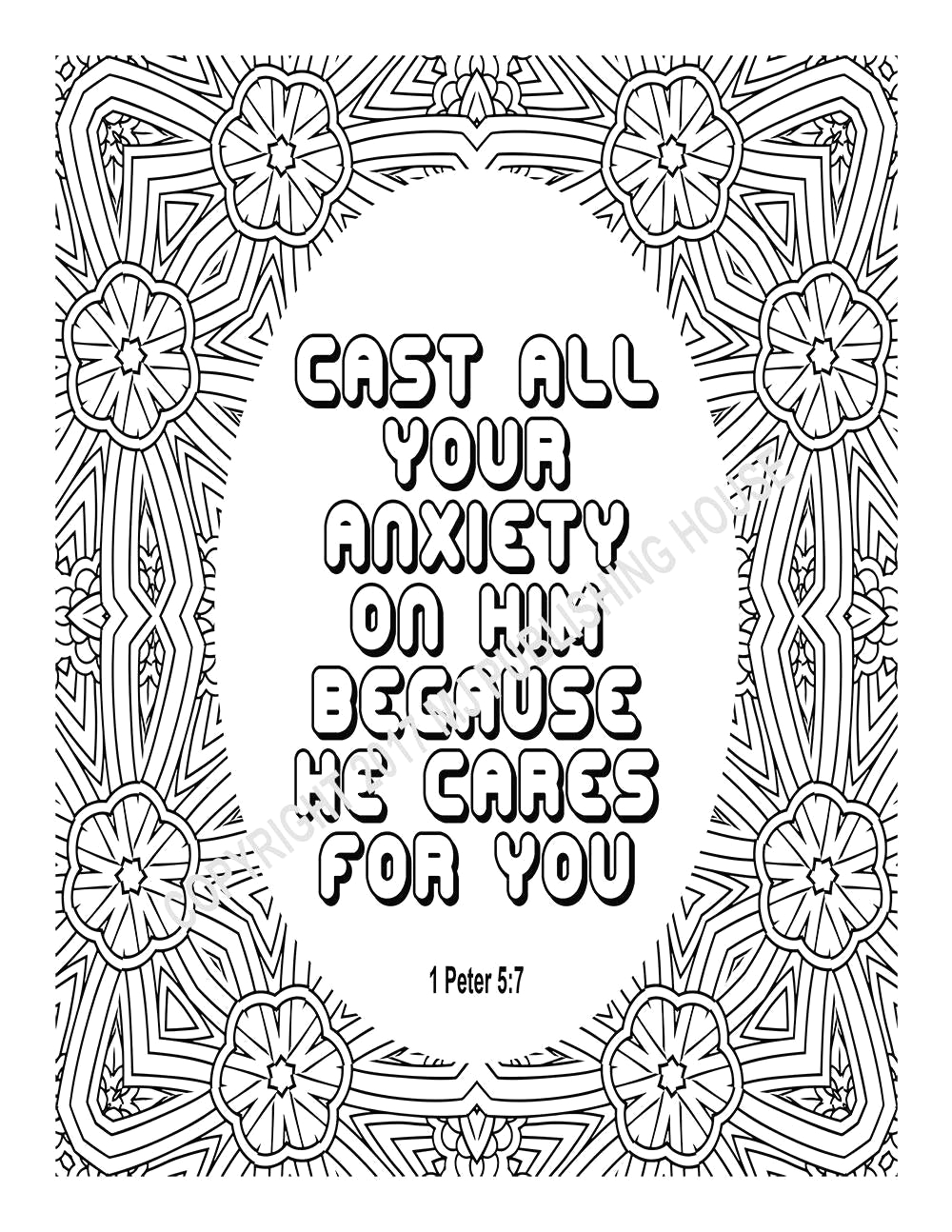 bible verse coloring page cast all your
