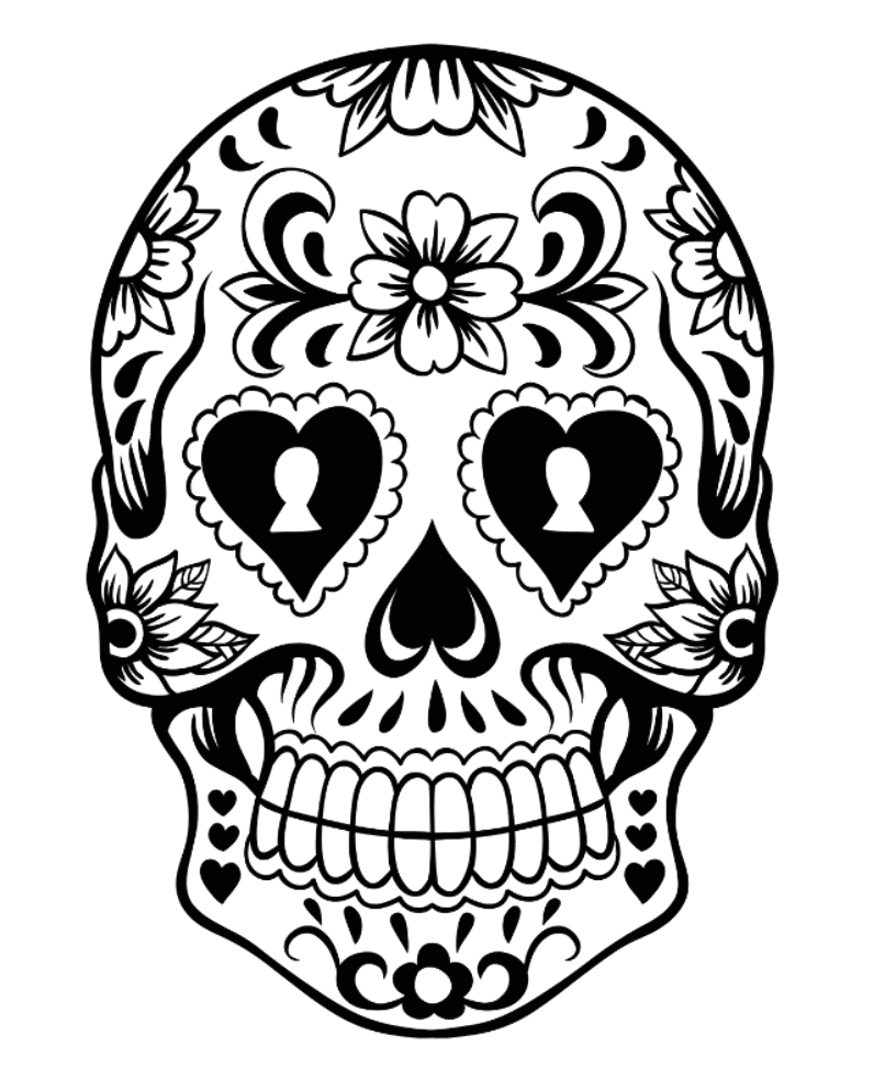 sugar skull coloring pages scary beautiful pictures