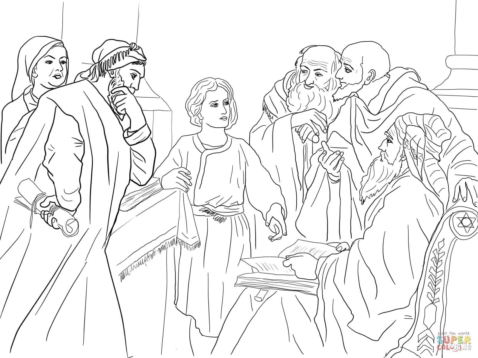 The Boy Jesus In the Temple Coloring Page Boy Jesus In the Temple Coloring Line