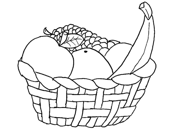 a basket of fruits coloring page