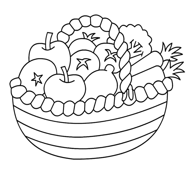 Basket Of Fruits and Vegetables Coloring Pages Anycoloring