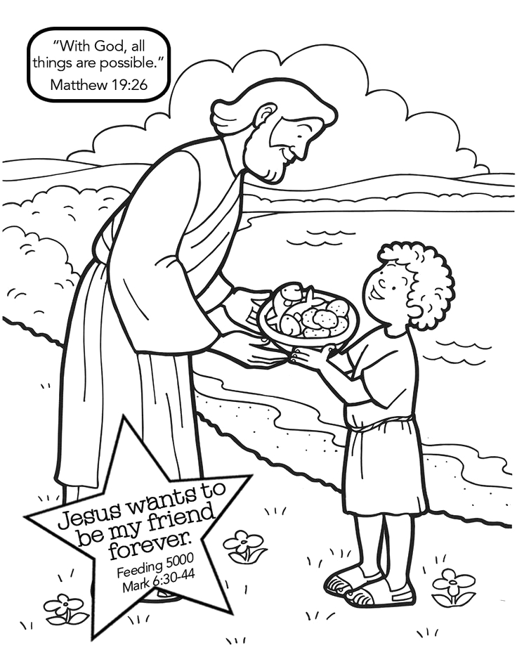 Bible Story Coloring Pages Jesus Feeds 5000 Jesus Feeds the 5000 Mark 630 44 Pinner Has Nice Coloring