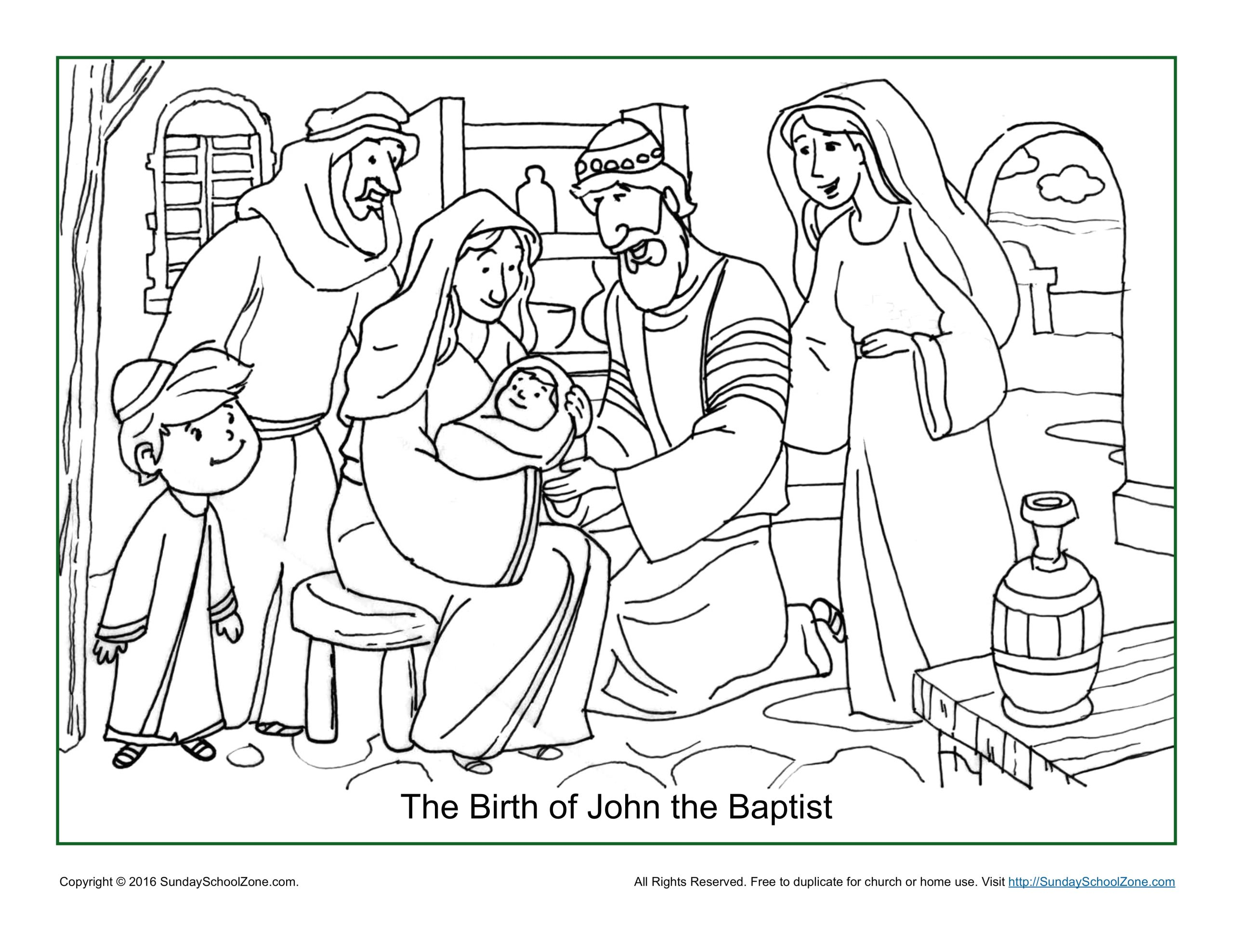 Birth Of John the Baptist Coloring Page the Birth Of John the Baptist Coloring Page Children S