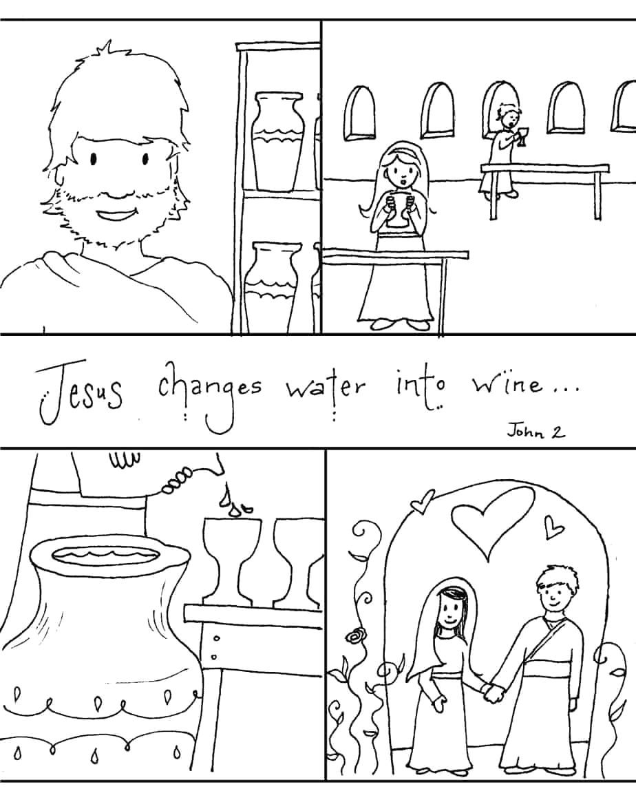water into wine coloring pages