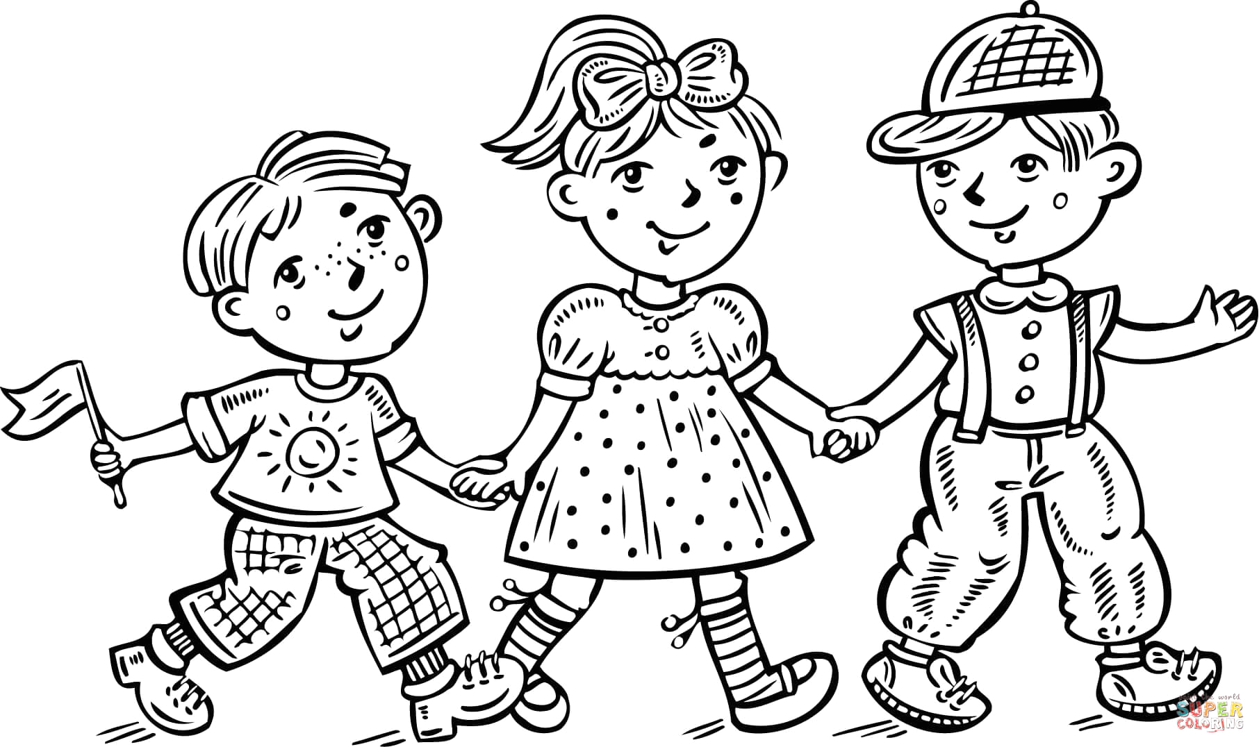 coloring pages boy and girl