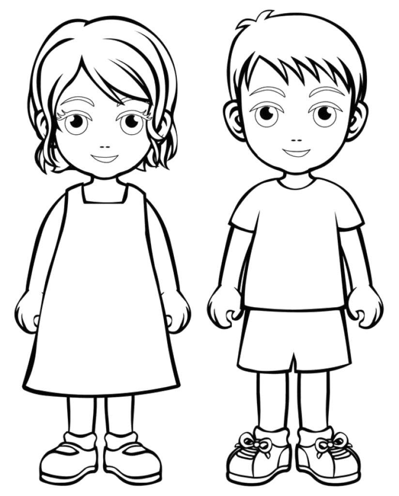 girl and boy drawing for kids