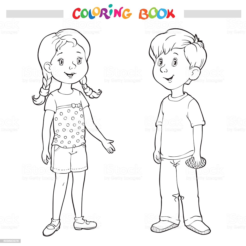 coloring book or page boy and girl gm