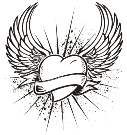 7 hearts with wings coloring pages for