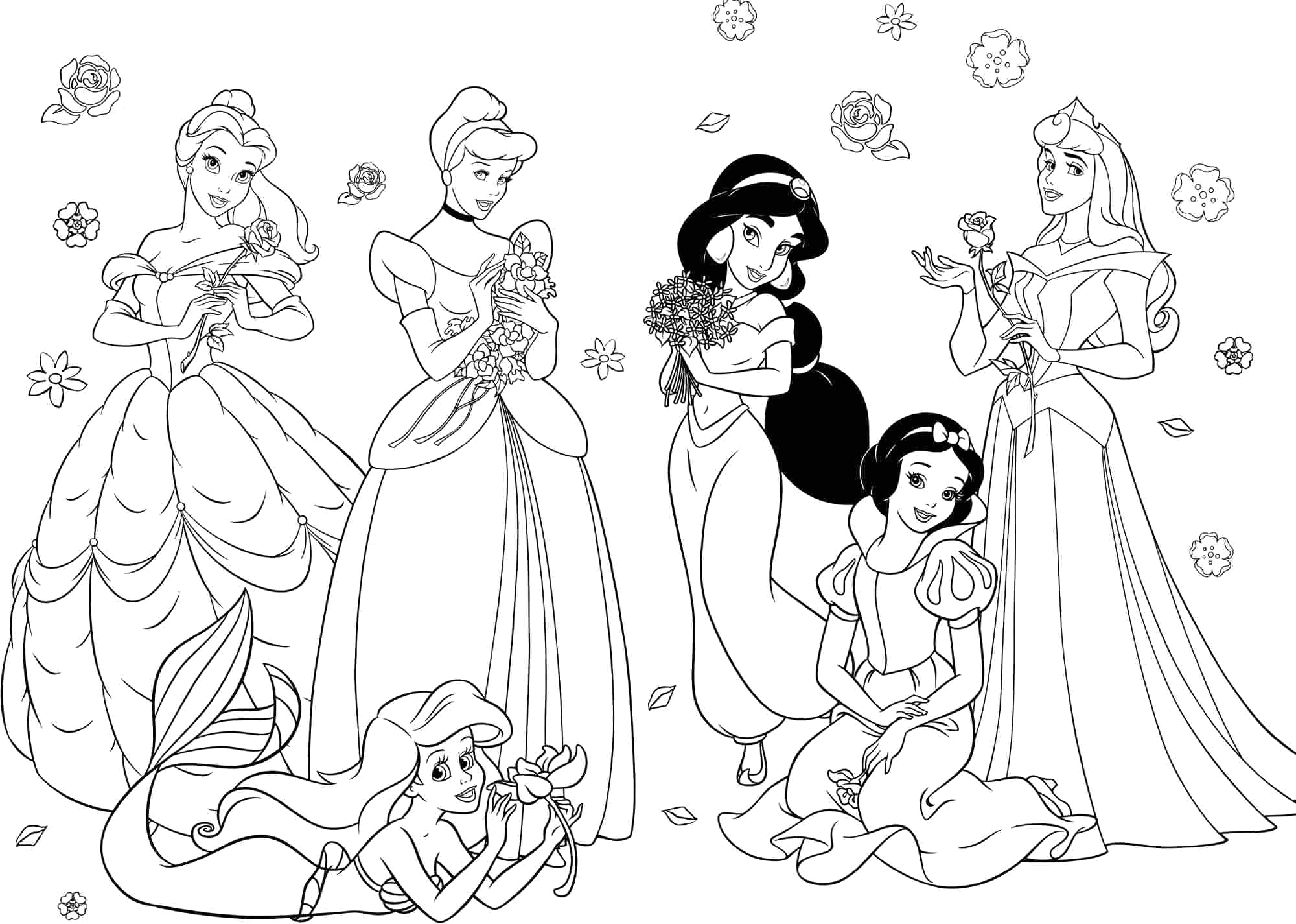 all disney princesses to her coloring pages