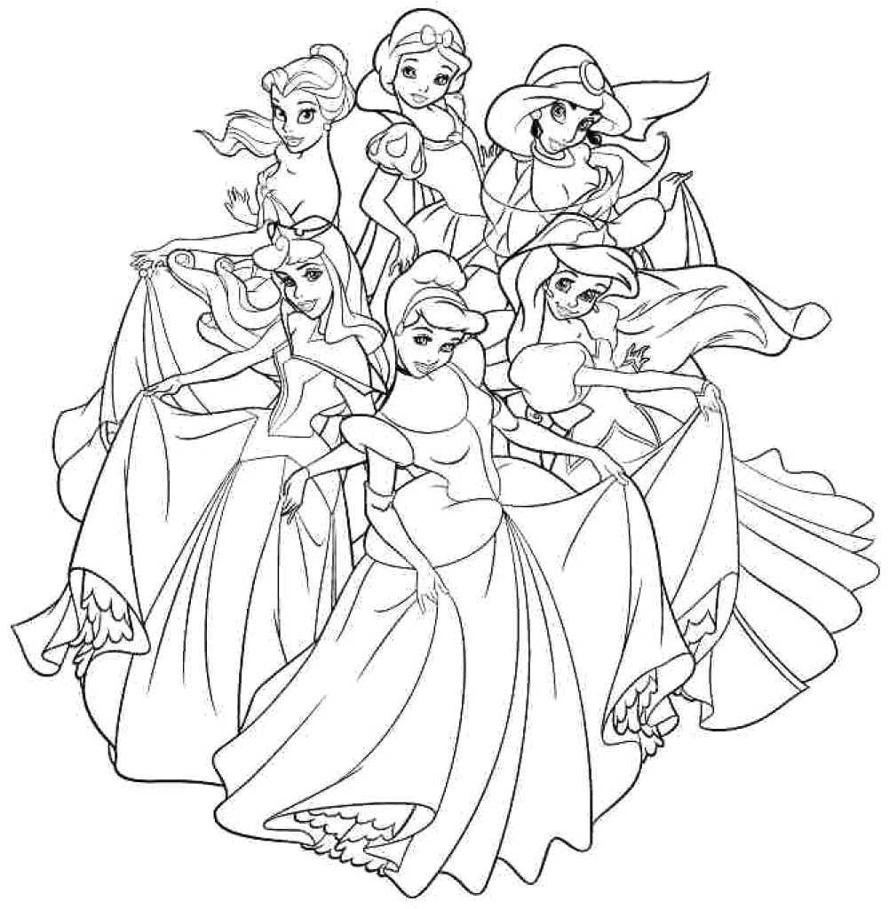 Coloring Pages Of All the Disney Princesses Disney Princess Coloring Pages for Adults at Getcolorings