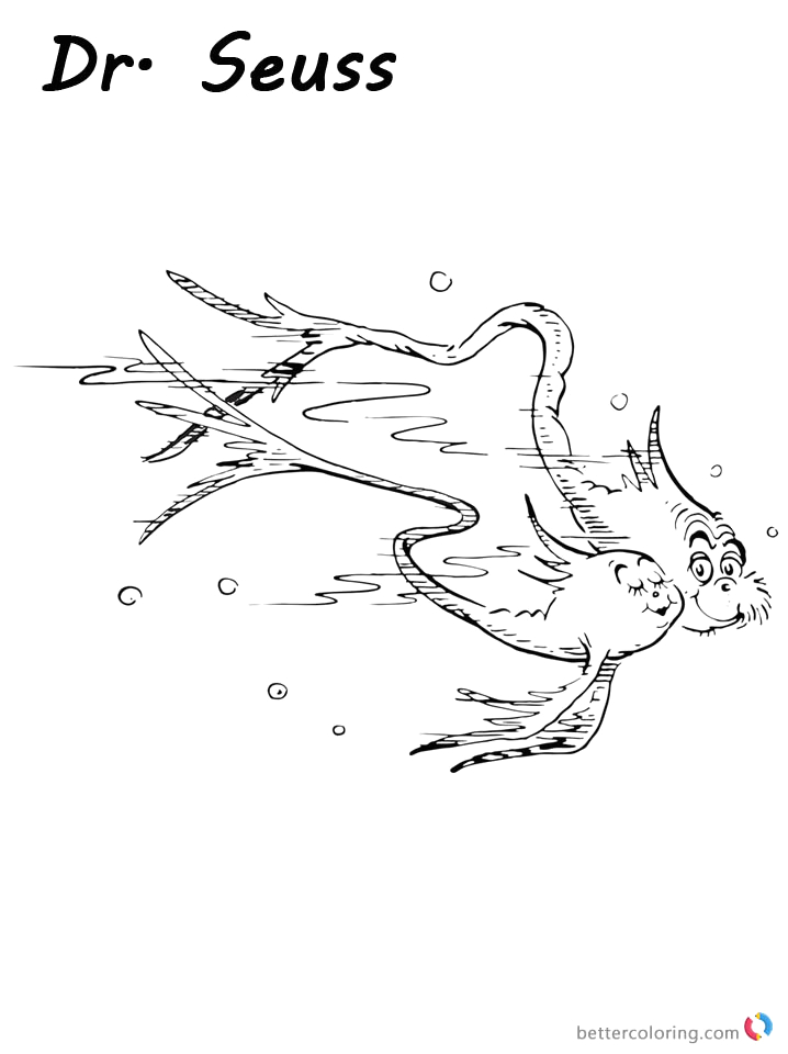 dr seuss one fish two fish coloring pages cat and fish