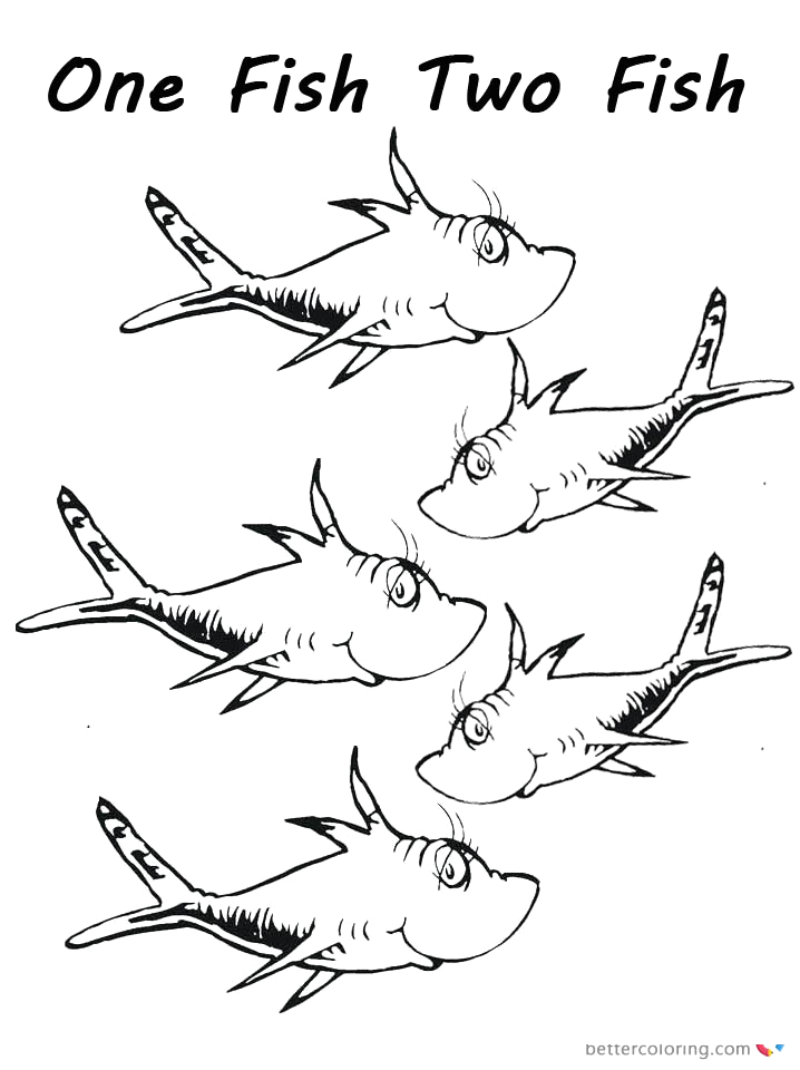 dr seuss one fish two fish coloring pages fishes for kids